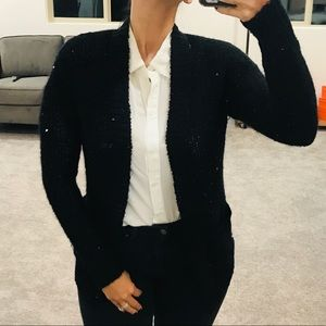 Sparkle Black Open Front Knit Fuzzy Cardigan